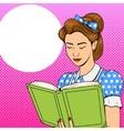 Girl reading book poster retro vector image vector image
