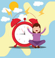 girl sitting in floor with alarm clock wake up vector image vector image