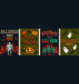 halloween posters set collection vector image vector image