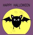 happy halloween cute black bat flying silhouette vector image