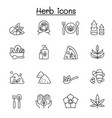 herb icon set in thin line style vector image vector image