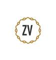 initial letter zv elegance creative logo vector image vector image