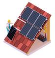 isometric solar panel installation vector image