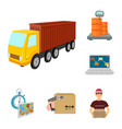 logistics and delivery cartoon icons in set vector image