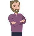 man with a beard on white background vector image vector image