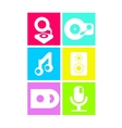 Neon colored flat music icons vector image