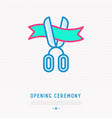 opening ceremony symbol scissors cutting ribbon vector image