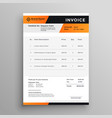 orange and black professional invoice template vector image