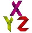 Origami alphabet letters X Y Z vector image vector image