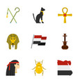 pharaon of egypt icons set cartoon style vector image vector image