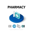 Pharmacy icon in different style vector image vector image