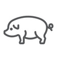 pig line icon farming and agriculture pork meat vector image