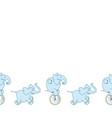 seamless border cute cartoon elephants vector image vector image