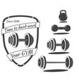 set monochrome gym equipment vector image