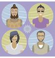 Set of four cartoon avatars - men 01 vector image