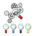 Set of magnifying glasses and mechanism vector image vector image