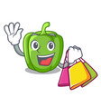 shopping green peppers on the table cartoon vector image