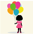 silhouette girl with balloons vector image vector image
