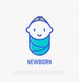 smiling newborn thin line icon vector image vector image