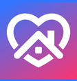 stay home icon house with heart vector image