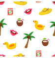 summer pattern with hand drawn palm tree hat vector image