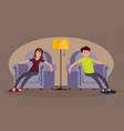 tired man and woman came home from work and sit vector image vector image