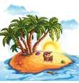 Treasure Island with a trunk vector image vector image