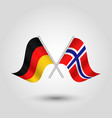 two crossed german and norwegian flags vector image vector image