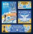 volleyball sport game trophy cup and equipment vector image vector image