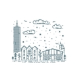 Winter Cityscape in trendy linear style vector image vector image