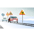 winter transport issues hello winter background vector image vector image