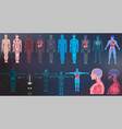 x-ray body collections in futuristic hud sci style vector image