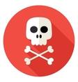 Skull with Bones Circle Icon vector image