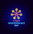 4 july independence day neon label vector image vector image