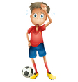 a boy and a football vector image vector image