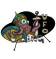 an alien viking in an ufo isolated vector image vector image