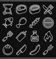 barbecue and grill icons set on black background vector image vector image