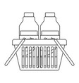 basket shopping with milk bottles in monochrome vector image
