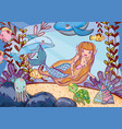 beauty mermaid with animal and tropical plants vector image
