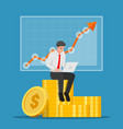 businessman sitting on coin stack with laptop vector image