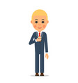 businessman with coffee young worker stands with vector image