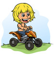 cartoon boy character driving quad motorbike vector image vector image