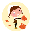 cartoon pilgrim child vector image vector image