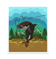 cat fish poster flyer vector image vector image