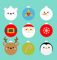christmas ball set penguin santa claus bear vector image