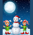 christmas girl elf with boy elf and snowman in the vector image vector image