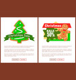 christmas sale price tag gingerbread man and tree vector image vector image