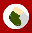 christmas sock icon on red background with long vector image vector image