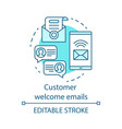 customer welcome emails blue concept icon vector image vector image