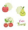cute fruits kawaii cartoons vector image vector image